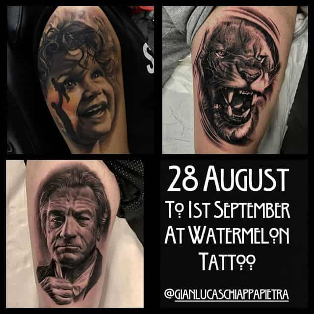 Can't wait until Gianluca graces us with his presence at the end of August. If you want to get an ultra realistic tattoo from the Don of realism all the way from Italy fill out the enquiry form on our website!!!!
