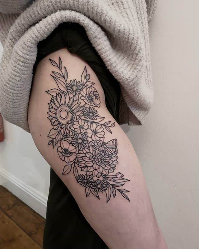 Thigh piece by Sarah Louise at Watermelon Tattoo for the lovely Mary!