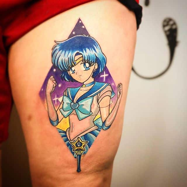 Very fresh Sailor Mercury tattoo for Giulia by Noemi at Watermelon Tattoo.