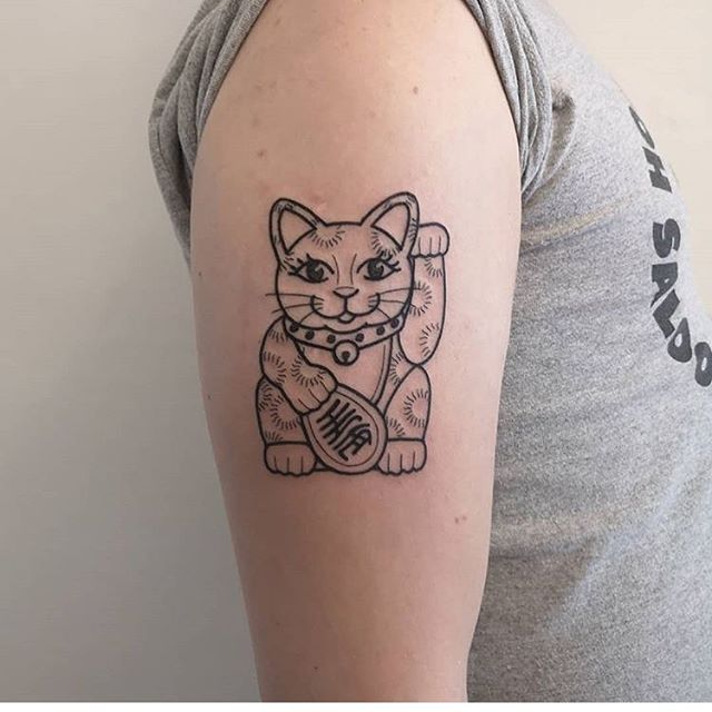 Lucky cat done last week by Sarah!