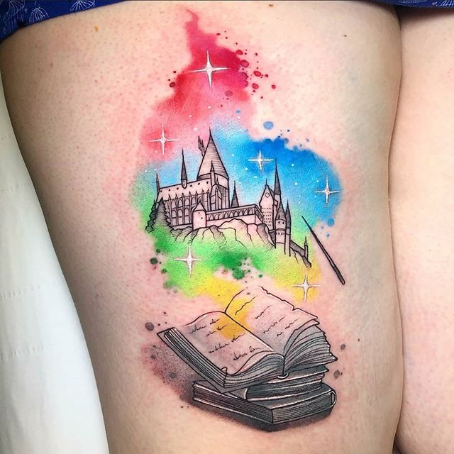 Hogwarts Castle!!! Tattoo by Noemi for Jemma!!! Thanks so much for choosing Watermelon!