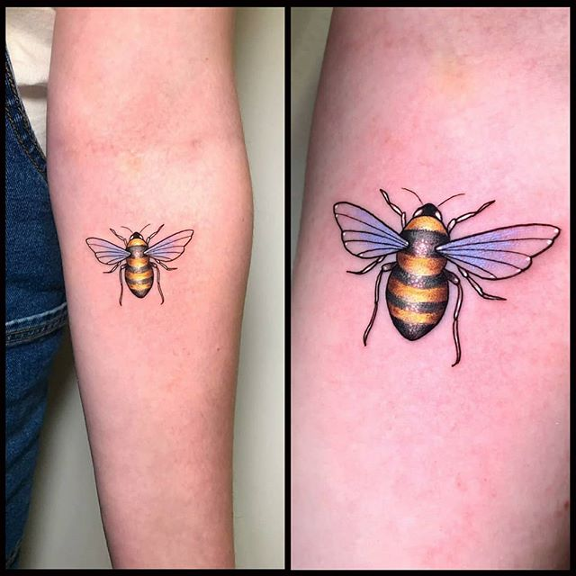 What bee makes milk? Boo-bees! Tattoo by Noemi for lovely Sarah!