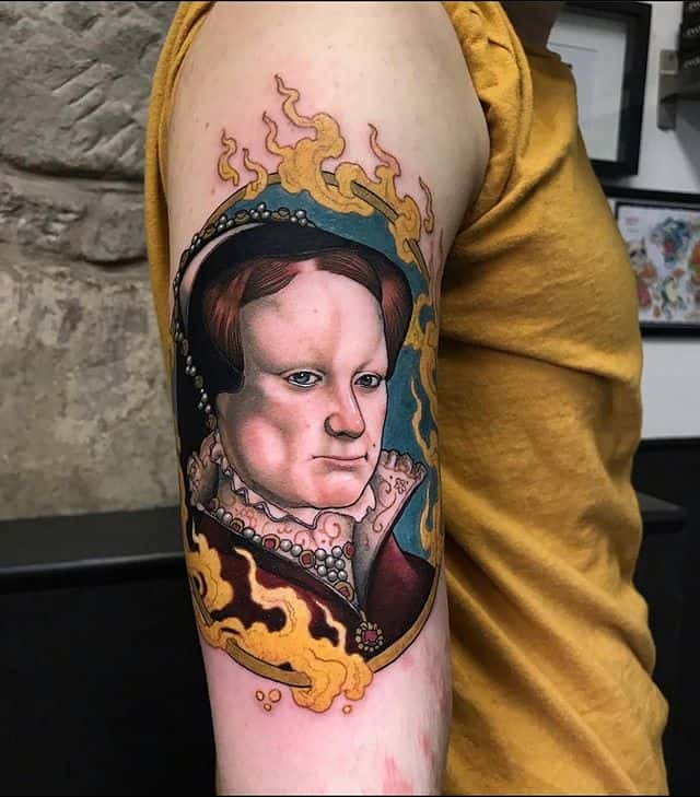 Mary Tudor by Alex Sketch done during his guest spot for the fabulous Tarquin. A grand addition to his many portraits of various Tudor royalty!