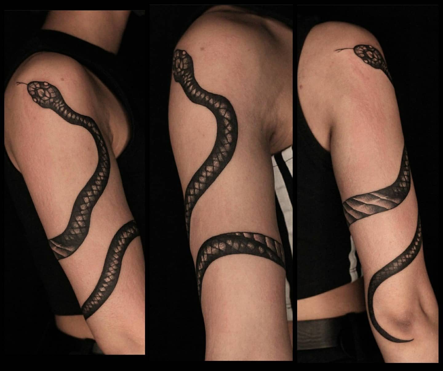 Wraparound snake by Liz for lovely Noora! *done before lockdown. (Note we are not taking new bookings until we reschedule our existing customers and have an exact opening date).  lizminellitattoo