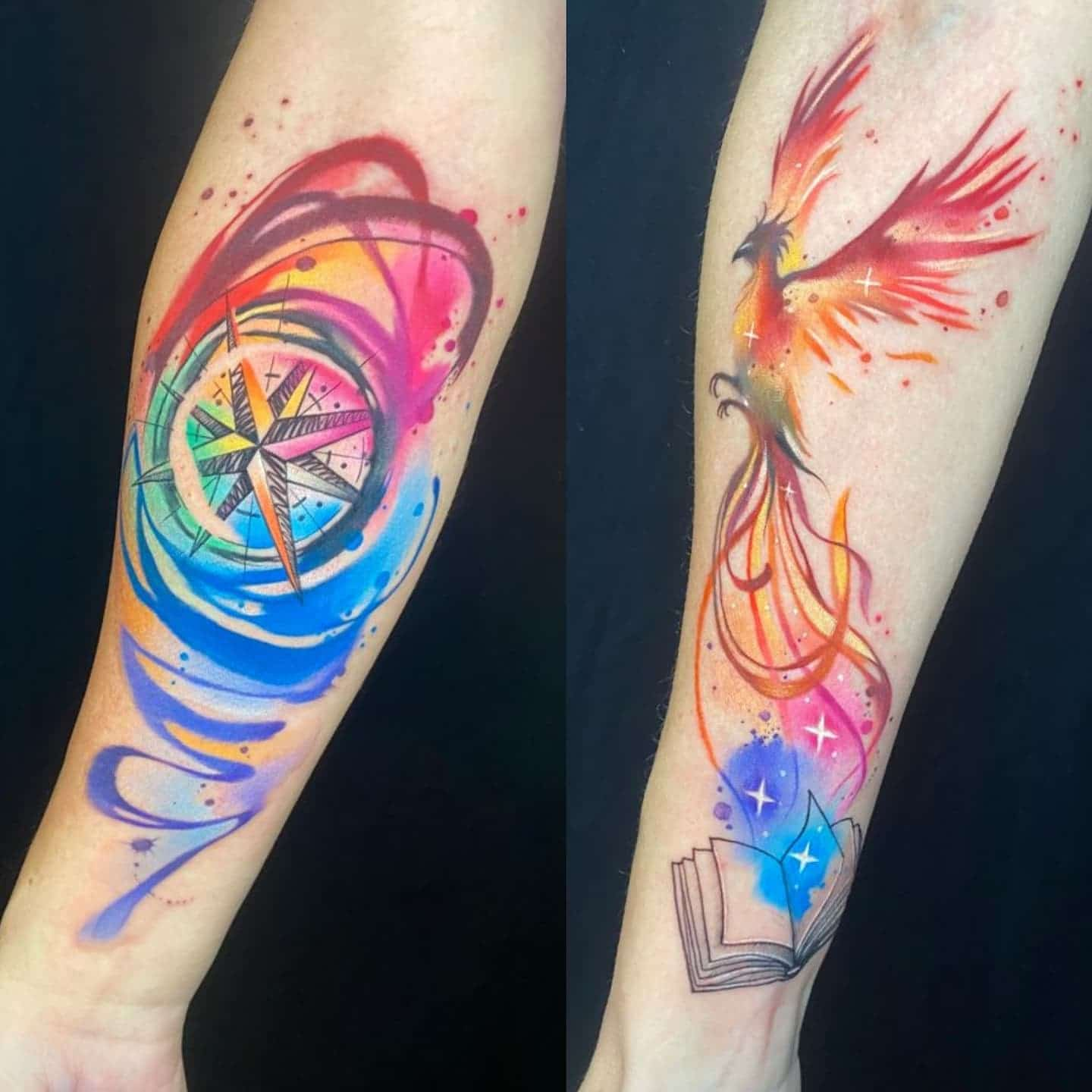 A compass for Matt and a Phoenix for Shannon. Thanks so much for travelling all the way from Cleveland to see us! Tattoos by Noemi 😍  noemi_tattoo